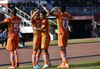NEROCA FC players celebrate one of their goals in the Hero I-League. (Photo courtesy: AIFF Media)