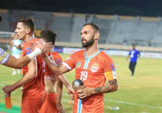 Chennai City FC's match winner Pedro Manzi and his teammates celebrate their win in the Hero I-League. (Photo courtesy: AIFF Media)