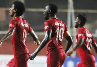 Willis Plaza and his Churchill Brothers teammates celebrating a goal in the Hero I-League. (Photo courtesy: AIFF Media)