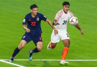 Indian national team defender Pritam Kotal in action against Thailand in the AFC Asian Cup UAE 2019. (Photo courtesy: The Asian Football Confederation)