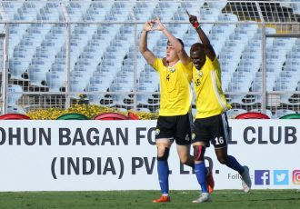 Real Kashmir FC ride Mason Robertson brace to vanquish Mohun Bagan AC in the Hero I-League. (Photo courtesy: AIFF Media)