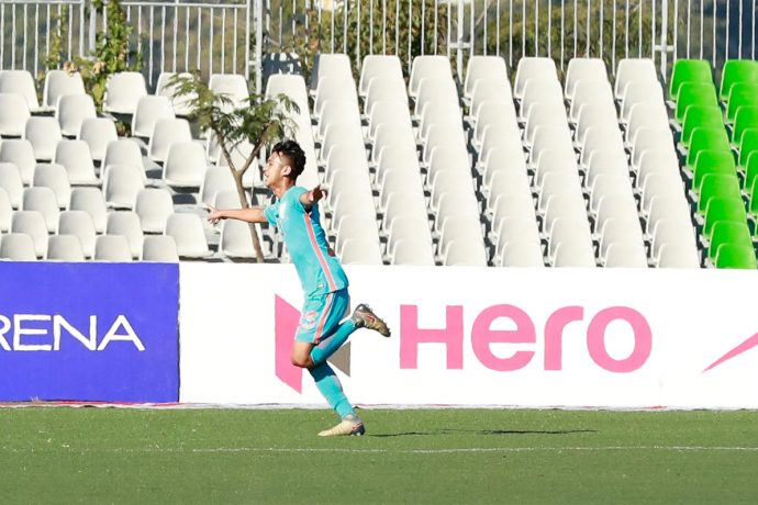 Indian Arrows Rohit Danu celebrating his goal against Aizawl FC in the Hero I-League. (Photo courtesy: AIFF Media)