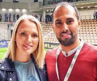 Ruth Hofmann (Sport 1) and Chris Punnakkattu Daniel (CPD Football) at the Budenzauber Emsland 2019. (© CPD Football)