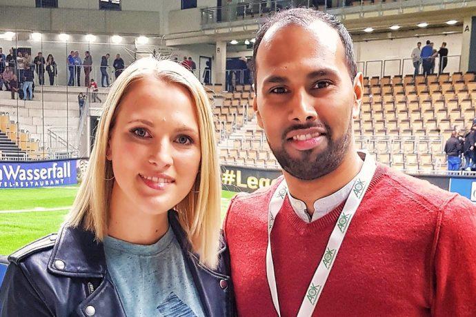 Ruth Hofmann (Sport 1) and Chris Punnakkattu Daniel (CPD Football) at the Budenzauber Emsland 2019. (© CPD Football)