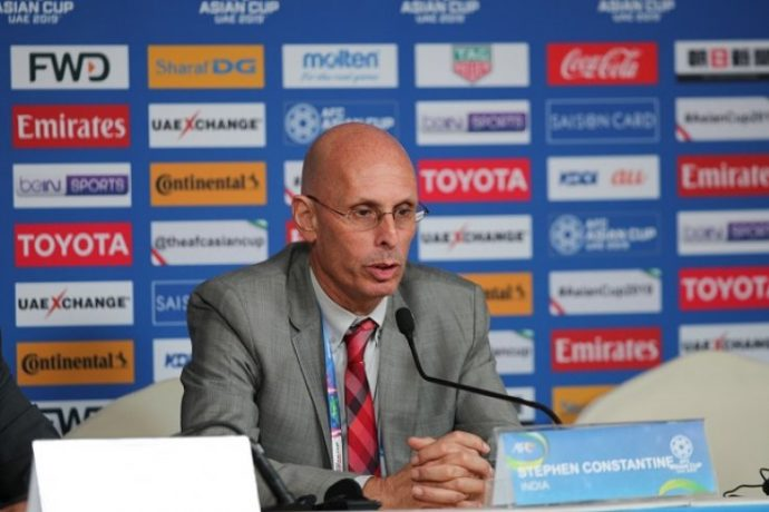 Indian national team head coach Stephen Constantine during the AFC Asian Cup UAE 2019 press conference. (Photo courtesy: AIFF Media)