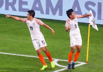 Anirudh Thapa (right) and Sunil Chhetri celebrate the Indian national team's third goal against Thailand in the AFC Asian Cup UAE 2019. (Photo courtesy: The Asian Football Confederation)