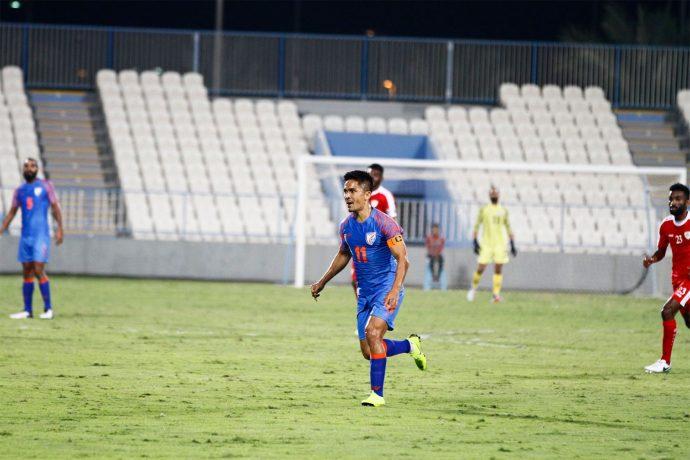 Indian national team captain Sunil Chhetri in action against Oman on December 27, 2018. (Photo courtesy: AIFF Media)