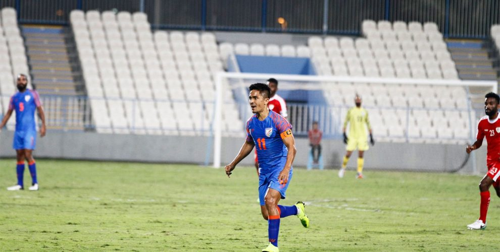 Indian national team captain Sunil Chhetri in action against Oman on December 27, 2018. (Photo courtesy: AIFF Media)