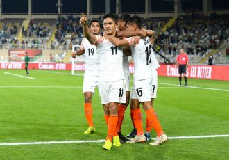 Sunil Chhetri and his Indian national teammates celebrate their win the AFC Asian Cup UAE 2019 Group A opening match. (Photo courtesy: The Asian Football Confederation)