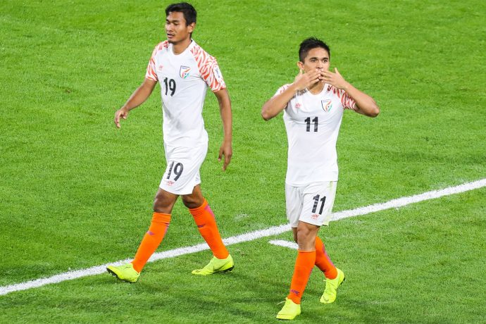 Sunil Chhetri celebrating one of his goals for the Indian national team at the AFC Asian Cup UAE 2019. (Photo courtesy: The Asian Football Confederation)