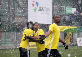 Real Kashmir's Ivorian striker Gnohere Krizo and teammates celebrating a goal in the Hero I-League. (Photo courtesy: AIFF Media)