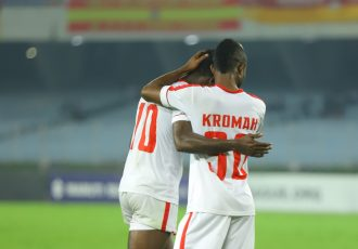 Aizawl FC players celebrating a goal in the Hero I-League. (Photo courtesy: AIFF Media)