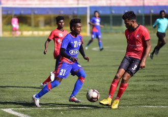 Match action between Bengaluru FC B and Ozone FC in a friendly match. (Photo courtesy: Bengaluru FC)