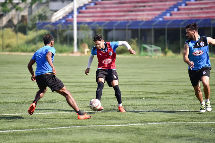 Bengaluru FC players train at the Bengaluru Football Stadium ahead of their Indian Super League clash. (Photo courtesy: Bengaluru FC)