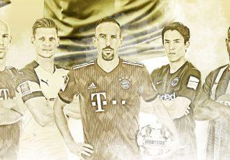 A legendary generation of Bundesliga stars: Arjen Robben, Lukasz Piszczek, Franck Ribéry, Makoto Hasebe and Salomon Kalou. (Image courtesy: Bundesliga)