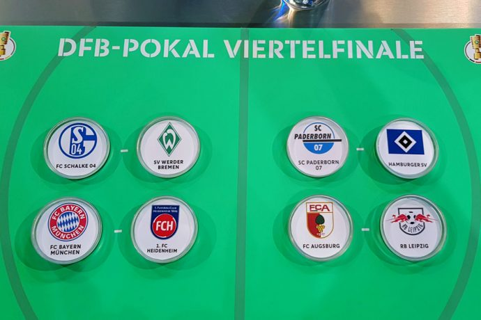 The quarterfinal draw for the DFB-Pokal (German Cup) men's competition. (© CPD Football)
