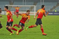 Enrique Esqueda celebrating his brace for East Bengal in the Hero I-League. (Photo courtesy: AIFF Media)
