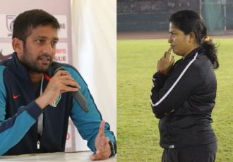 Indian Arrows head coach Flyod Pinto and India Women's head coach Maymol Rocky. (Photo courtesy: AIFF Media)