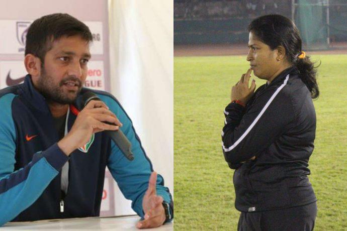 Indian Arrows head coach Flyod Pinto and India Women's head coach Maymol Rocky. (Photo courtesy: AIFF Media)