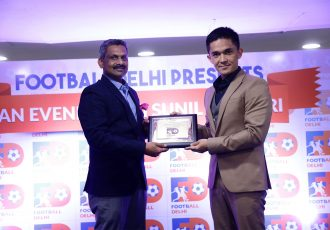 Football Delhi President Dr. Shaji Prabhakaran and India striker Sunil Chhetri during the Football Ratna function. (Photo courtesy: AIFF Media)