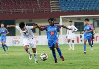 Hero Gold Cup 2019 match action between the Women's national teams of India and Myanmar. (Photo courtesy: AIFF Media)