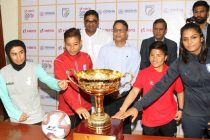 Hero Gold Cup pre-tournament press conference with AIFF General Secretary Kushal Das and members of the participating Women's national teams. (Photo courtesy: AIFF Media)