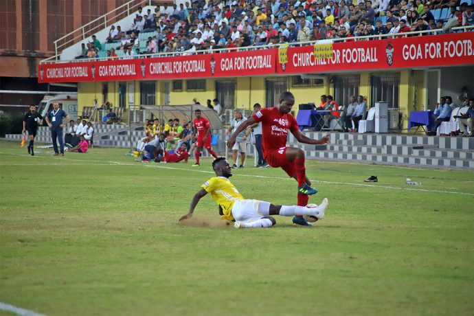Hero I-League match action between Churchill Brothers and Real Kashmir FC. (Photo courtesy: AIFF Media)