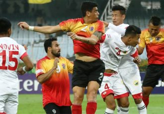 Hero I-League match action between East Bengal FC and Shillong Lajong FC. (Photo courtesy: AIFF Media)