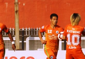 NEROCA FC players celebrating a goal in the Hero I-League. (Photo courtesy: AIFF Media)