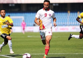 Hero I-League match action between Real Kashmir FC and East Bengal FC at the Jawaharlal Nehru Stadium, New Delhi. (Photo courtesy: AIFF Media)