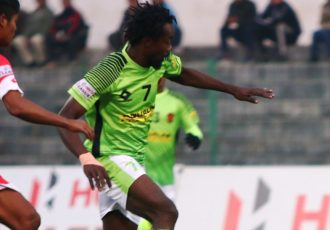 Hero I-League match action between Shillong Lajong FC and Gokulam Kerala FC. (Photo courtesy: AIFF Media)