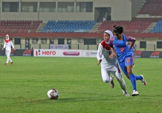 Hero Gold Cup 2019 match action between the Women's national teams of India and Iran. (Photo courtesy: AIFF Media)