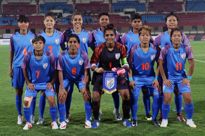 The Indian Women's national team at the Hero Gold Cup 2019. (Photo courtesy: AIFF Media)