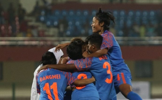 Indian Women's national team celebrating a goal in the Hero Gold Cup 2019. (Photo courtesy: AIFF Media)