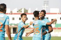 Indian Arrows players celebrating one of their goals in the Hero I-League. (Photo courtesy: AIFF Media)