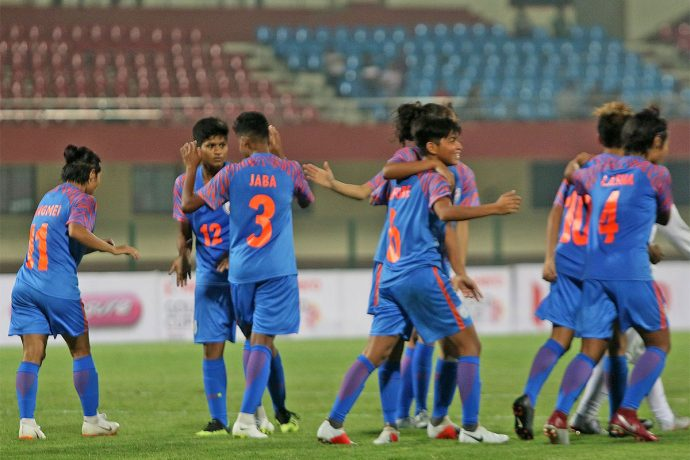 Indian Women's national team celebrating a win in the Hero Gold Cup 2019. (Photo courtesy: AIFF Media)