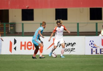 NEROCA FC star Katsumi Yusa in action againt the Indian Arrows in the Hero I-League. (Photo courtesy: AIFF Media)