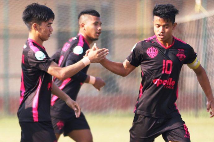 Minerva Punjab FC U-18 players celebrating their win in the Hero Elite League. (Photo courtesy: AIFF Media)