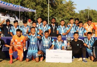 The victorious Minerva Punjab FC U-18 team celebrate their maidan Hero Elite League title. (Photo courtesy: AIFF Media)
