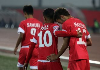 Shillong Lajong's Naorem Mahesh Singh celebrating his Hero I-League goal with teammate Kitboklang Pale. (Photo courtesy: AIFF Media)