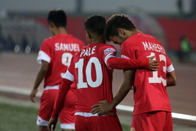 Shillong Lajong's Naorem Mahesh Singh celebrating his Hero I-League goal with teammate Kitboklang Pale. (Photo courtesy: AIFF Media)
