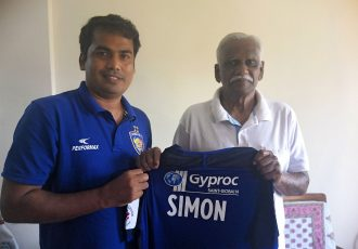 Syed Sabir Pasha (First Team Assistant Coach & Technical Director of Youth Development, Chennayin FC) and Simon Sundararaj. (Photo courtesy: Chennayin FC)