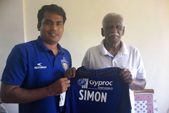 Syed Sabir Pasha (First Team Assistant Coach & Technical Director of Youth Development, Chennayin FC) and Simon Sundararaj. (Photo courtesy: Chennayin FC)