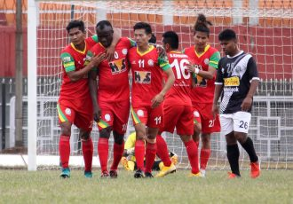 TRAU FC players celebrating one of their goals against Mohammedan Sporting Club in a Hero 2nd Division League match at the Khuman Lampak Main Stadium in Imphal. (Photo courtesy: Mohammedan Sporting Club)