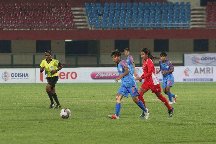 Hero Gold Cup 2019 match action between the Women's national teams of India and Nepal. (Photo courtesy: AIFF Media)
