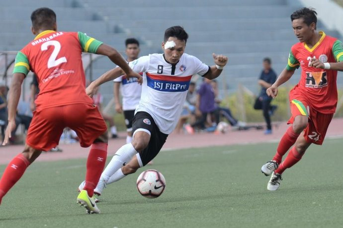 Hero 2nd Division League match action between Chhinga Veng FC and TRAU FC. (Photo courtesy: AIFF Media)