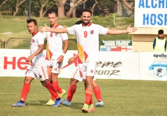 Enrique Esqueda celebrating his goal for East Bengal in the Hero I-League. (Photo courtesy: AIFF Media)