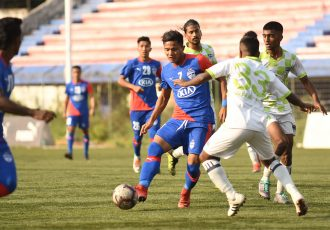 Bengaluru FC B striker Edmund Lalrindika in action against ARA FC in a Hero 2nd Division League encounter at the Bengaluru Football Stadium. (Photo courtesy: Bengaluru FC)