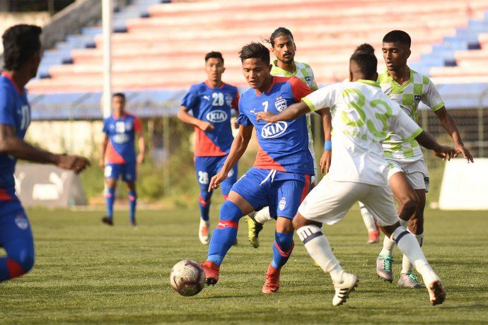 Bengaluru FC B striker Edmund Lalrindika in action against ARA FC in a Hero 2nd Division League encounter at the Bengaluru Football Stadium. (Photo courtesy: Bengaluru FC)