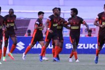 Gokulam Kerala FC players during their Hero I-League match. (Photo courtesy: AIFF Media)